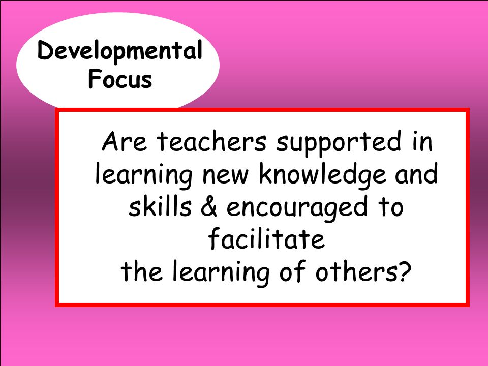 Developmental Focus Are teachers supported in learning new knowledge and skills & encouraged to facilitate.