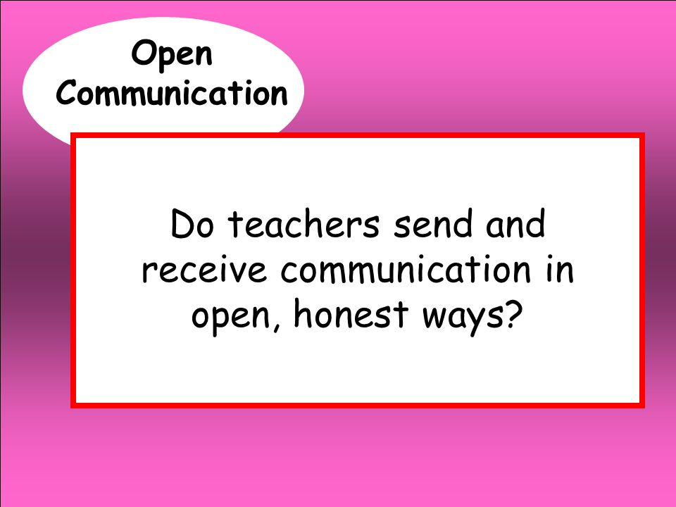 Do teachers send and receive communication in open, honest ways