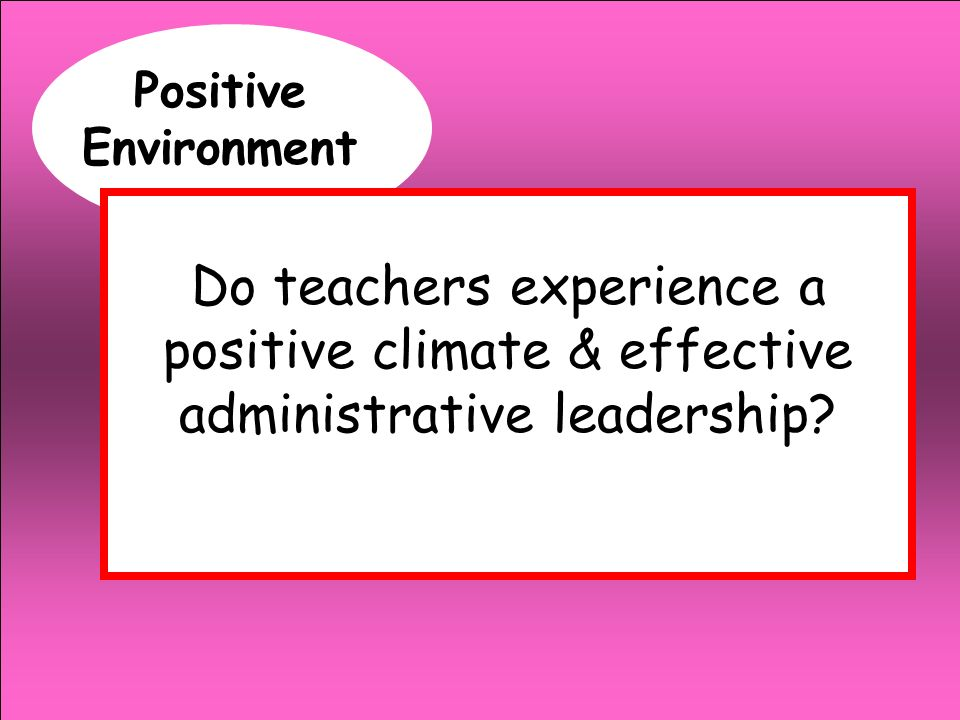 Positive Environment Do teachers experience a positive climate & effective administrative leadership