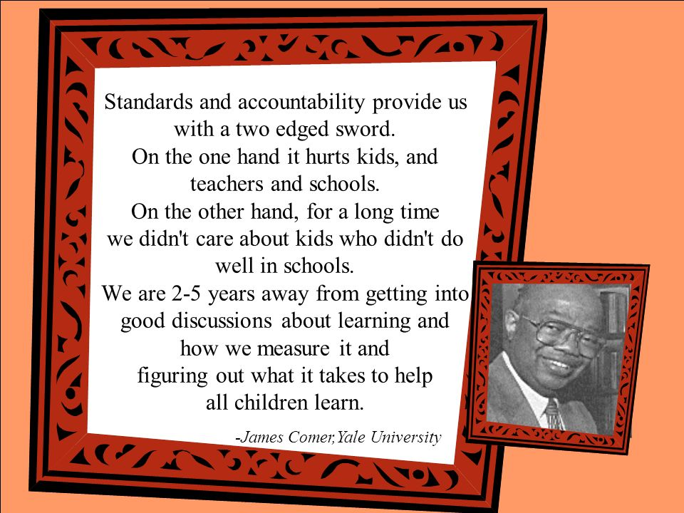Standards and accountability provide us with a two edged sword