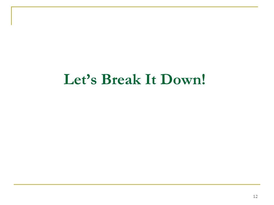 Let's Break It Down!