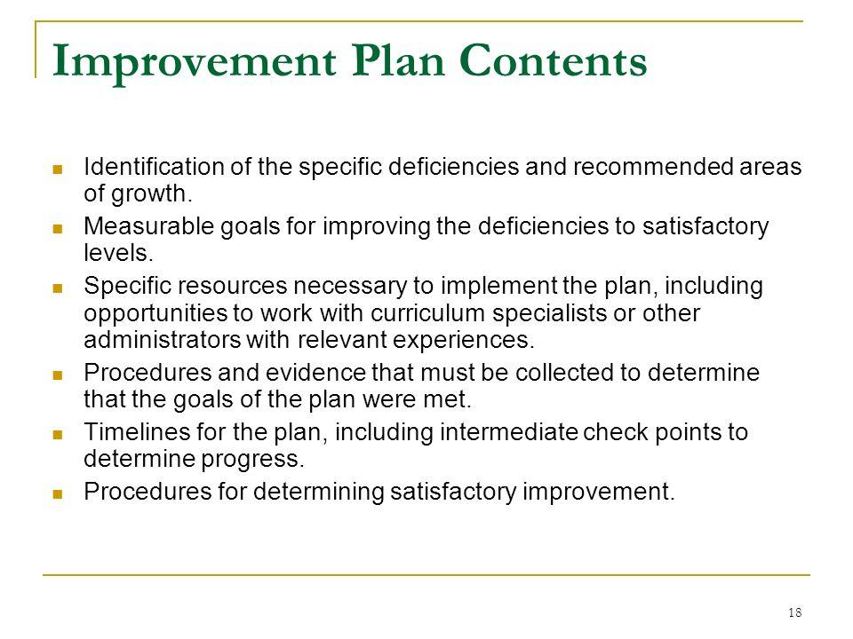 Improvement Plan Contents
