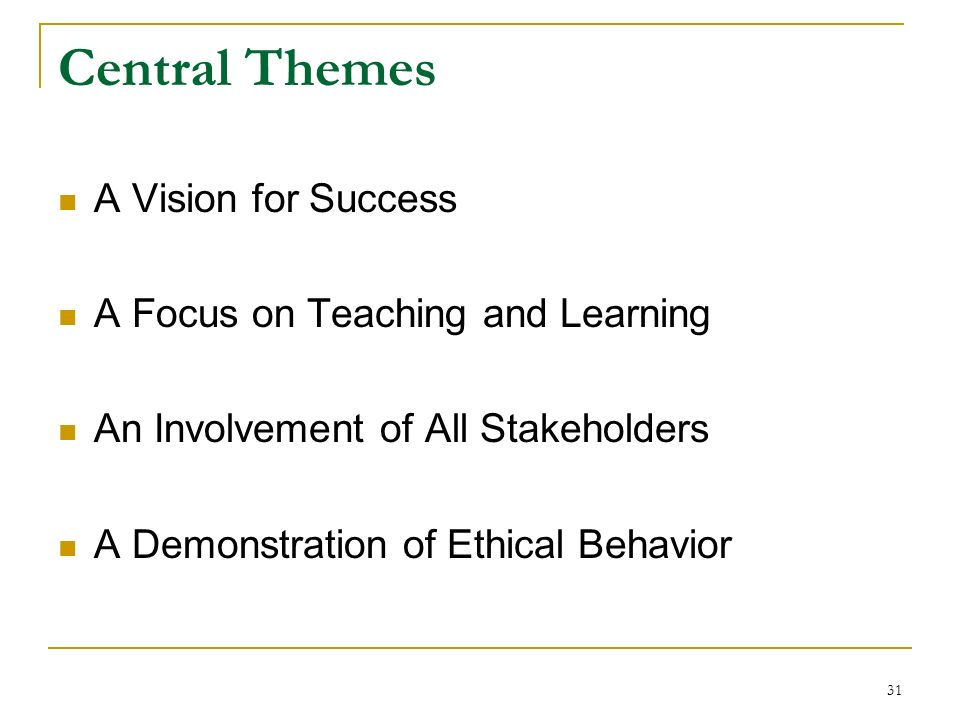 Central Themes A Vision for Success A Focus on Teaching and Learning