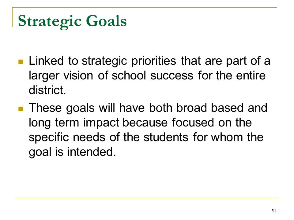 Strategic Goals Linked to strategic priorities that are part of a larger vision of school success for the entire district.