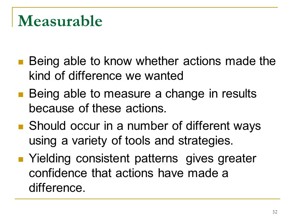 Measurable Being able to know whether actions made the kind of difference we wanted.