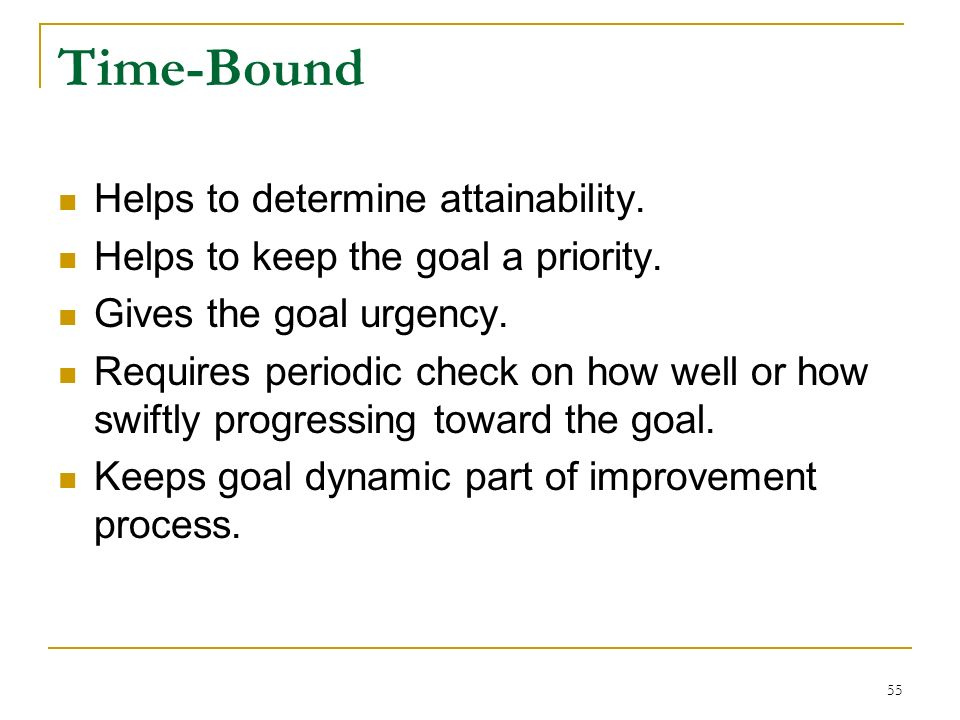 Time-Bound Helps to determine attainability.