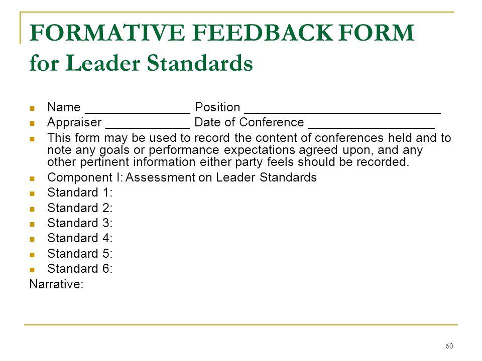 FORMATIVE FEEDBACK FORM for Leader Standards