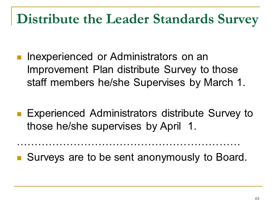 Distribute the Leader Standards Survey