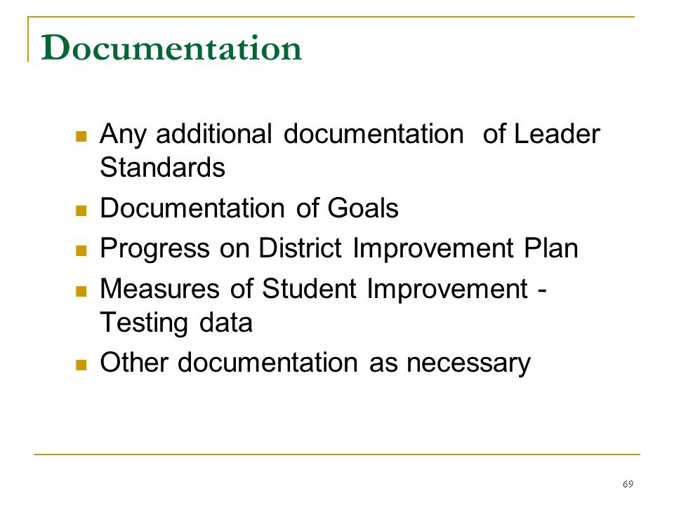 Documentation Any additional documentation of Leader Standards