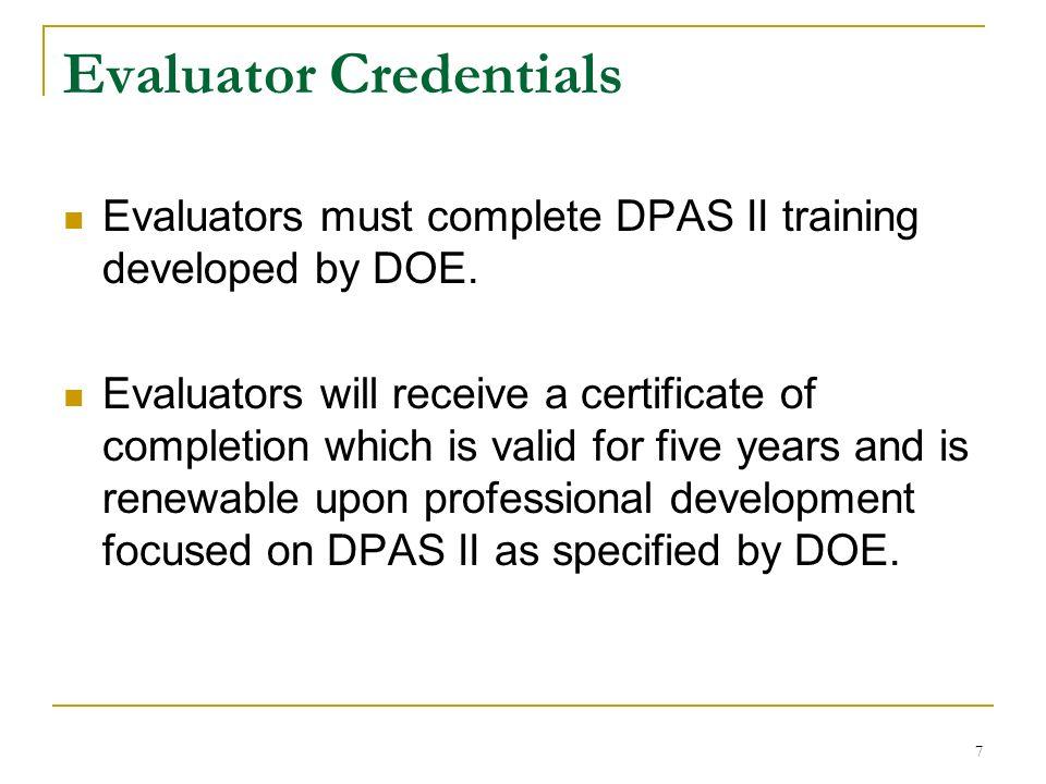 Evaluator Credentials