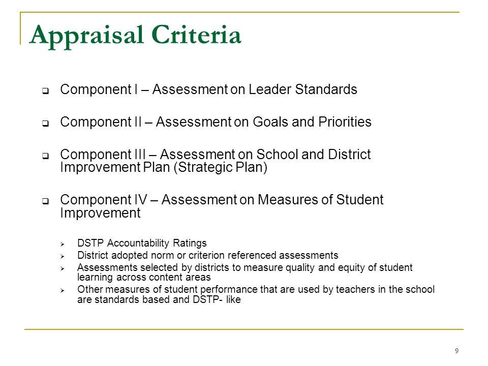 Appraisal Criteria Component I – Assessment on Leader Standards