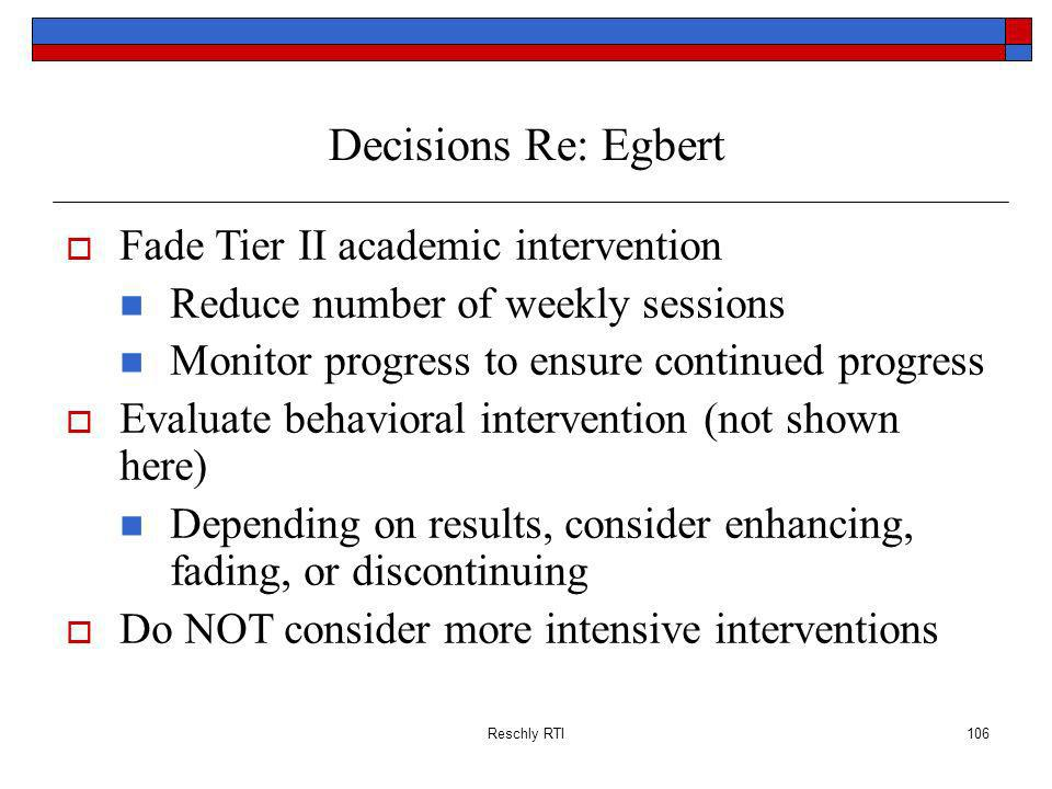 Decisions Re: Egbert Fade Tier II academic intervention