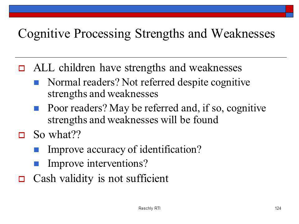 Cognitive Processing Strengths and Weaknesses