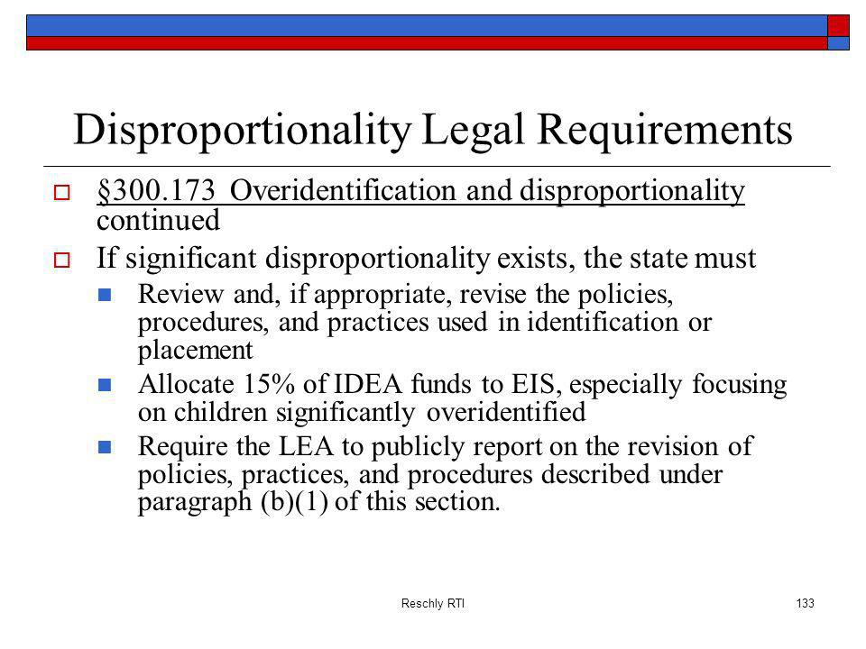 Disproportionality Legal Requirements