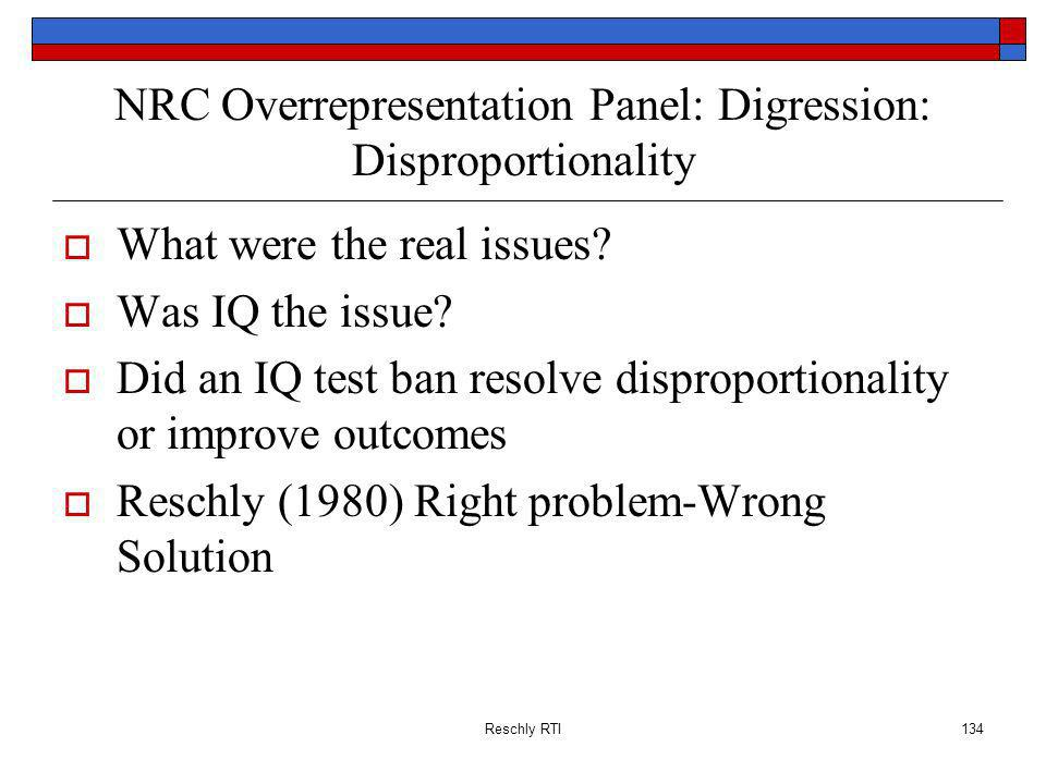 NRC Overrepresentation Panel: Digression: Disproportionality