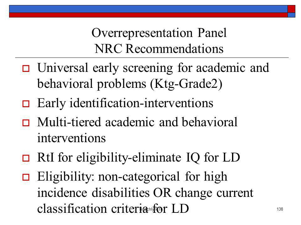 Overrepresentation Panel NRC Recommendations