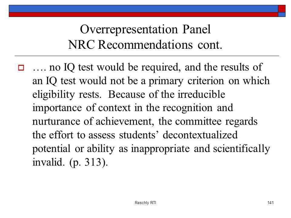 Overrepresentation Panel NRC Recommendations cont.