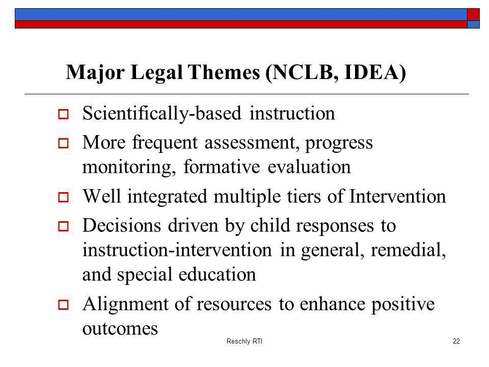 Major Legal Themes (NCLB, IDEA)