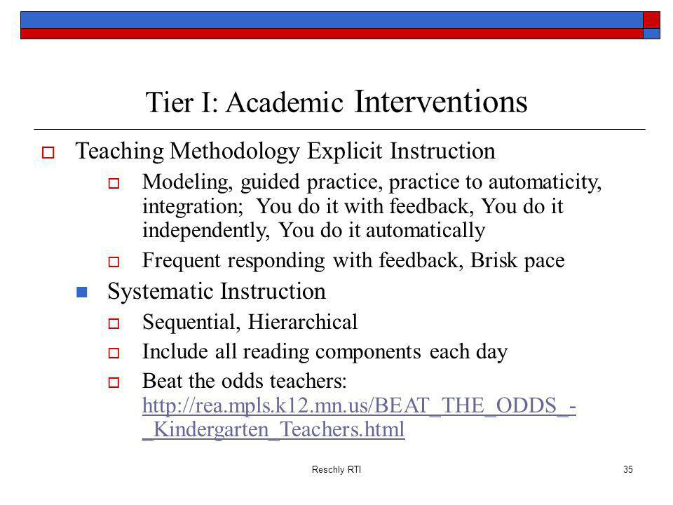 Tier I: Academic Interventions