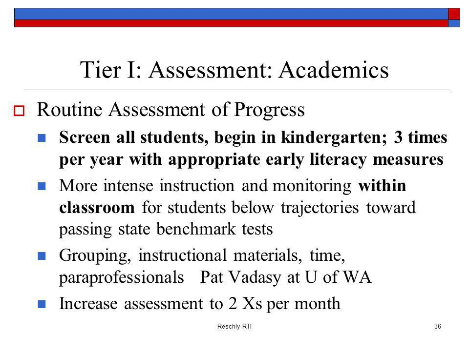 Tier I: Assessment: Academics