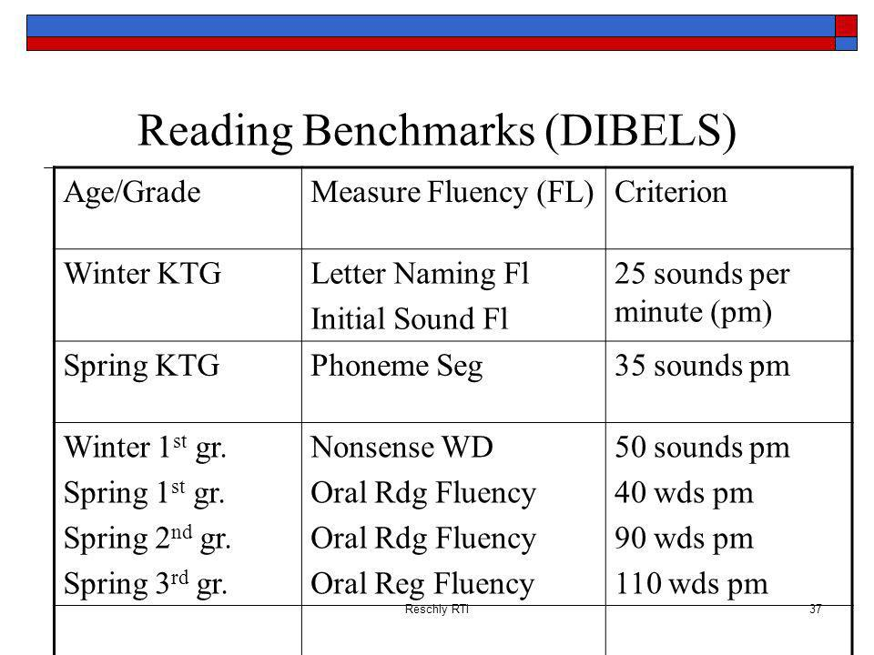 Reading Benchmarks (DIBELS)
