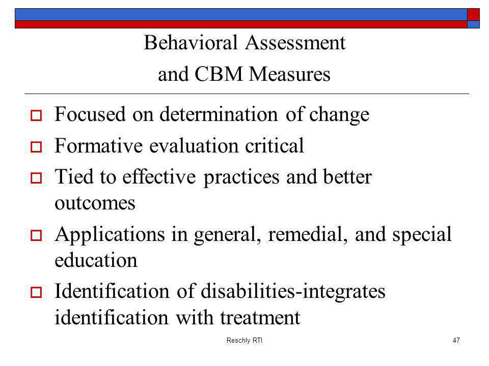 Behavioral Assessment and CBM Measures