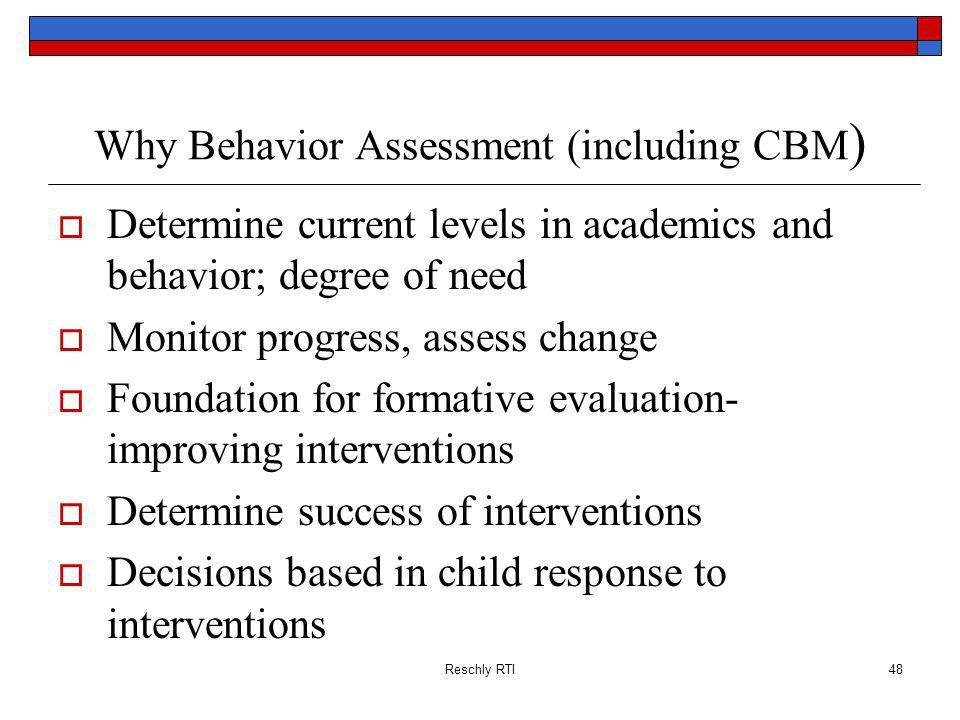 Why Behavior Assessment (including CBM)