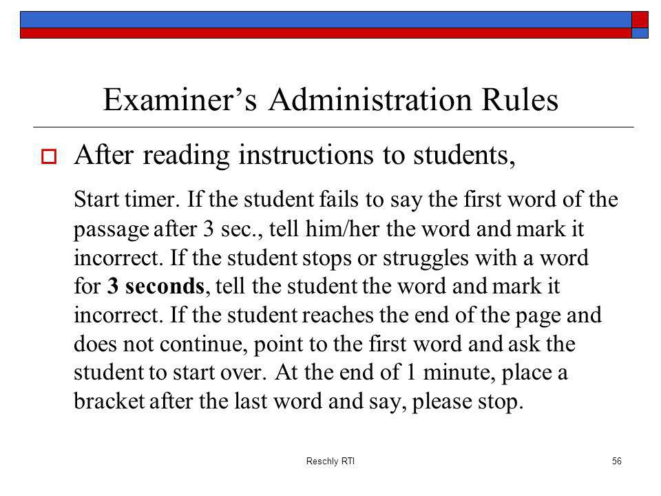 Examiner's Administration Rules