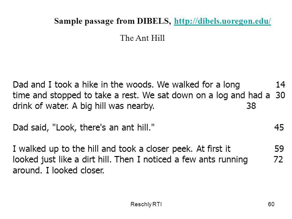 Sample passage from DIBELS, http://dibels.uoregon.edu/
