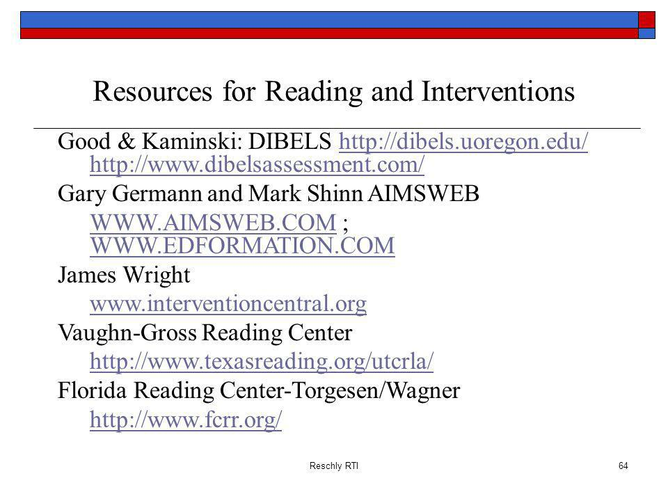 Resources for Reading and Interventions