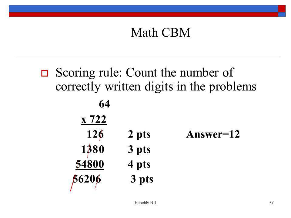 Math CBM Scoring rule: Count the number of correctly written digits in the problems. 64. x 722. 126 2 pts Answer=12.