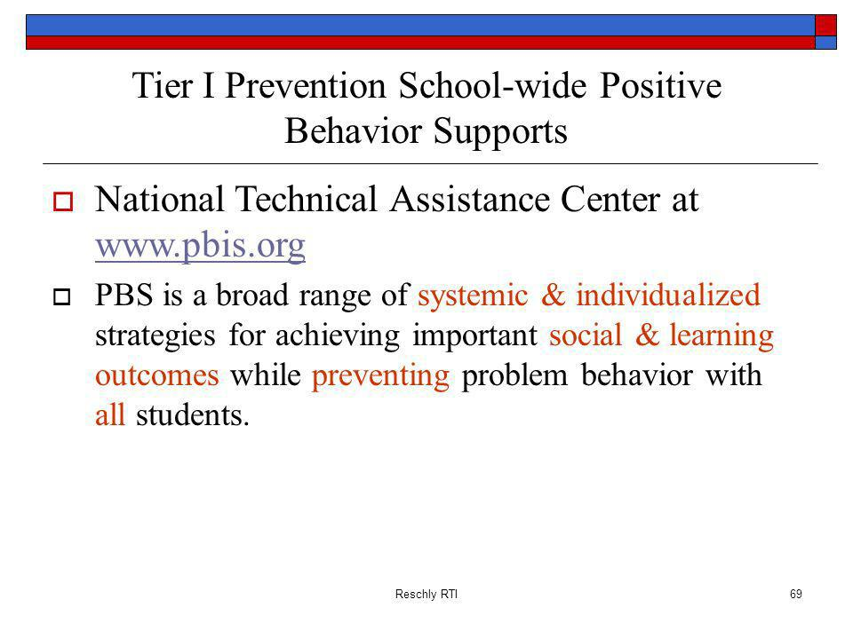 Tier I Prevention School-wide Positive Behavior Supports