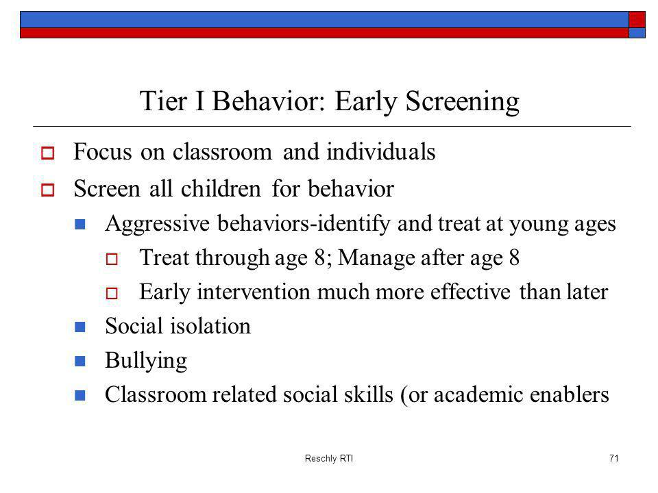 Tier I Behavior: Early Screening