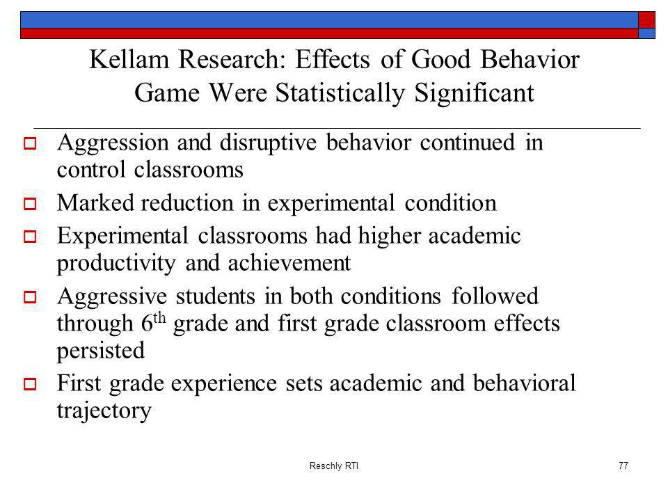 Kellam Research: Effects of Good Behavior Game Were Statistically Significant