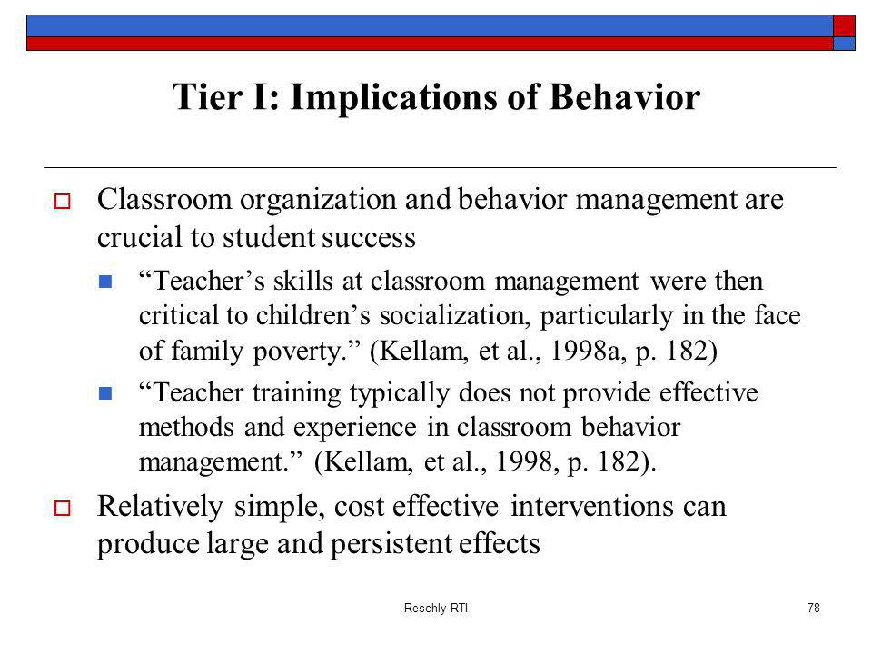 Tier I: Implications of Behavior