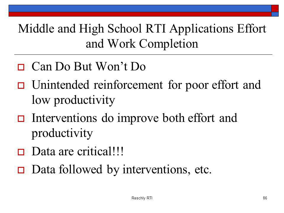 Middle and High School RTI Applications Effort and Work Completion