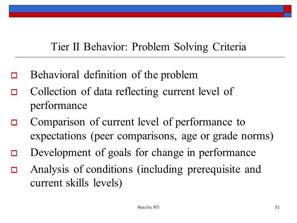 Tier II Behavior: Problem Solving Criteria