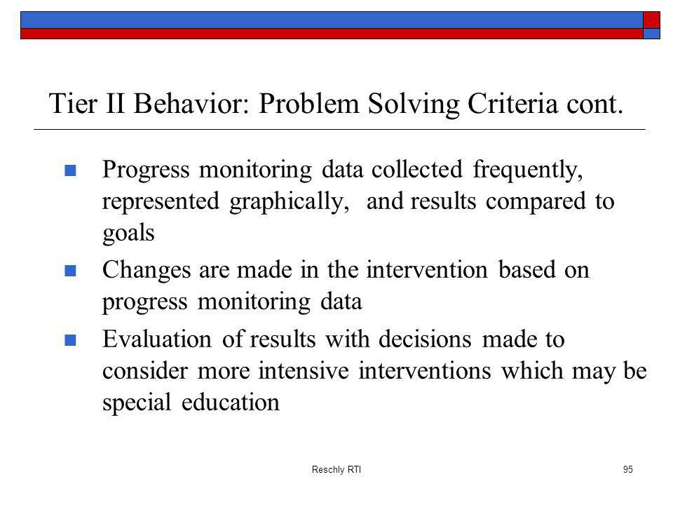 Tier II Behavior: Problem Solving Criteria cont.