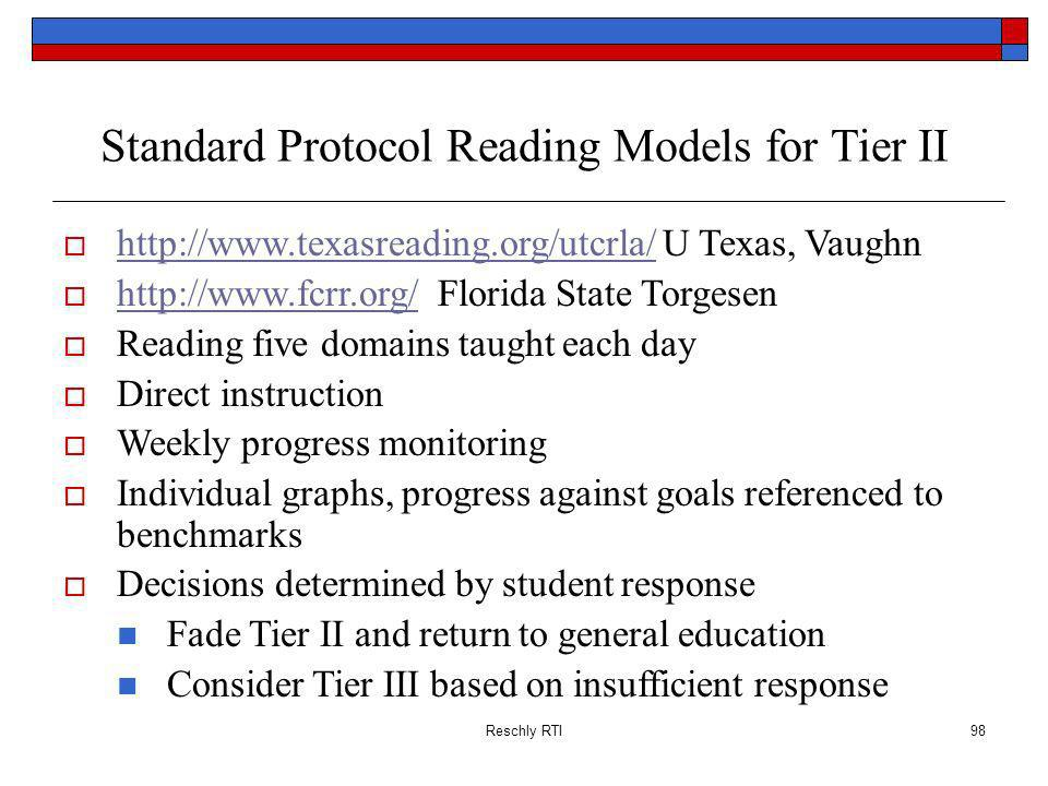 Standard Protocol Reading Models for Tier II