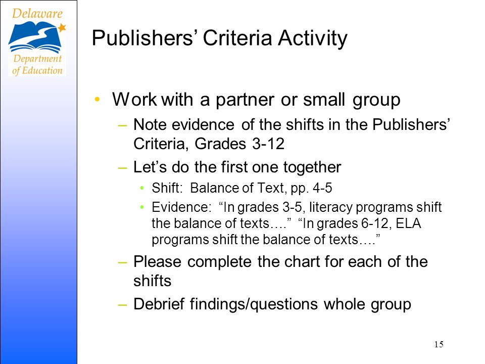 Publishers' Criteria Activity