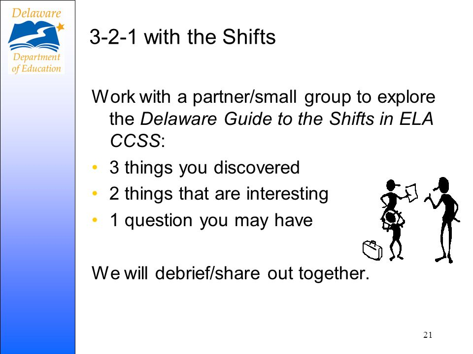 3-2-1 with the Shifts Work with a partner/small group to explore the Delaware Guide to the Shifts in ELA CCSS: