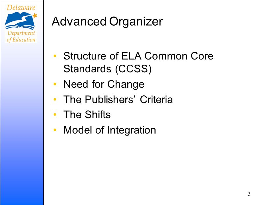 Advanced Organizer Structure of ELA Common Core Standards (CCSS)