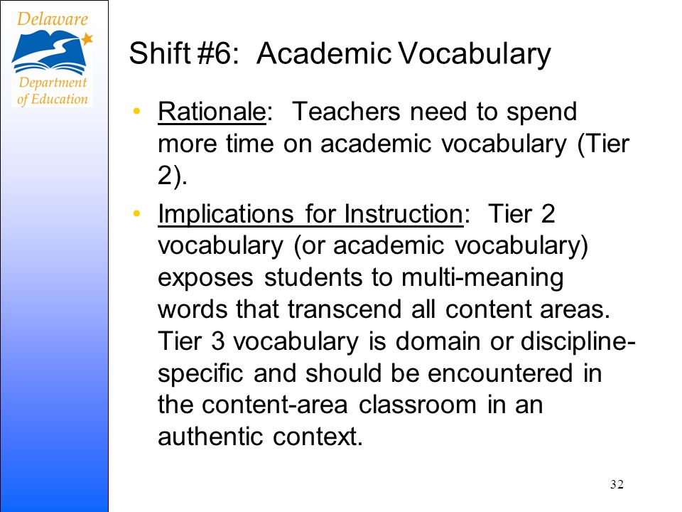 Shift #6: Academic Vocabulary