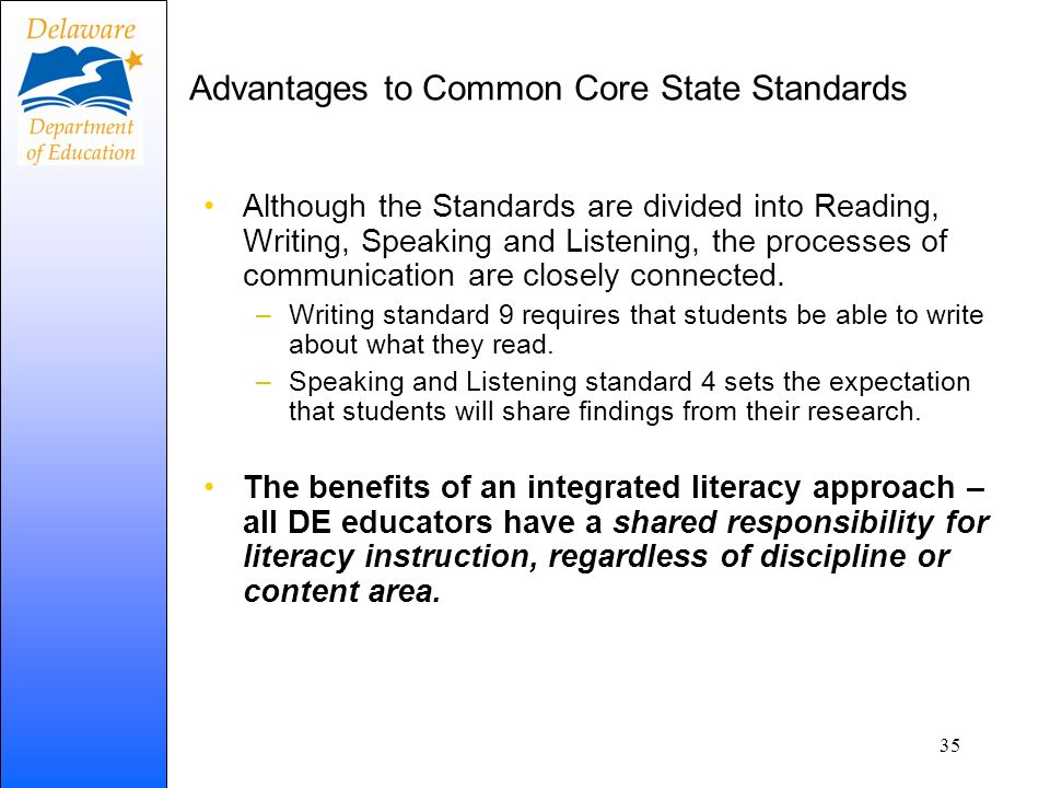 Advantages to Common Core State Standards