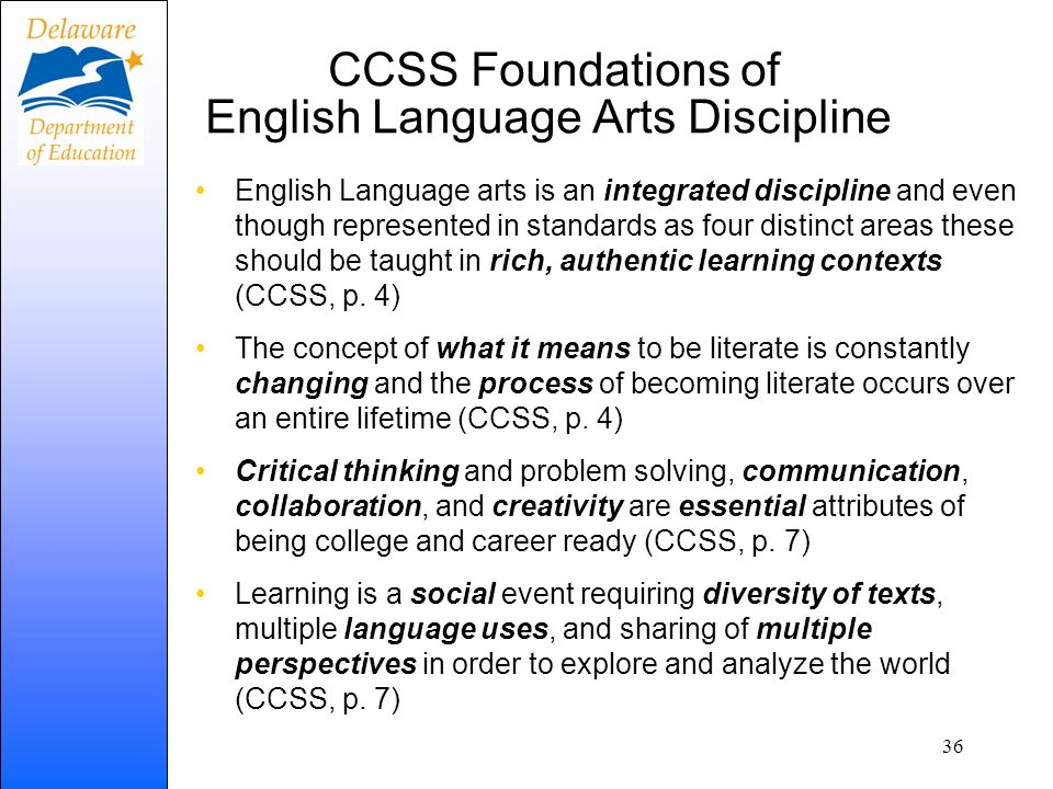 CCSS Foundations of English Language Arts Discipline