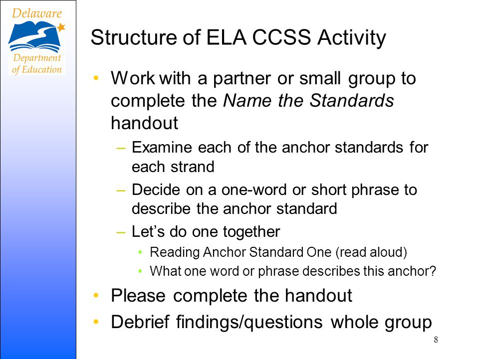 Structure of ELA CCSS Activity