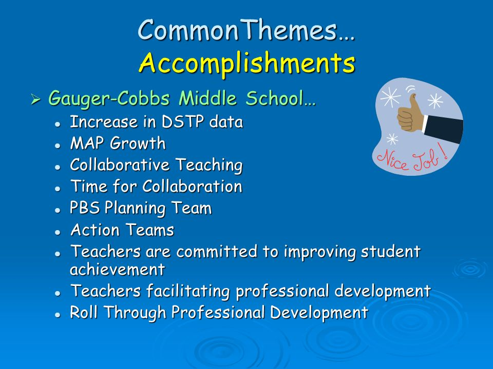 CommonThemes… Accomplishments
