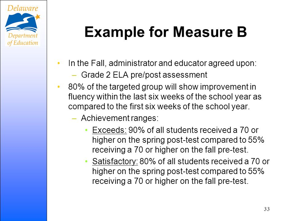 Example for Measure B In the Fall, administrator and educator agreed upon: Grade 2 ELA pre/post assessment.