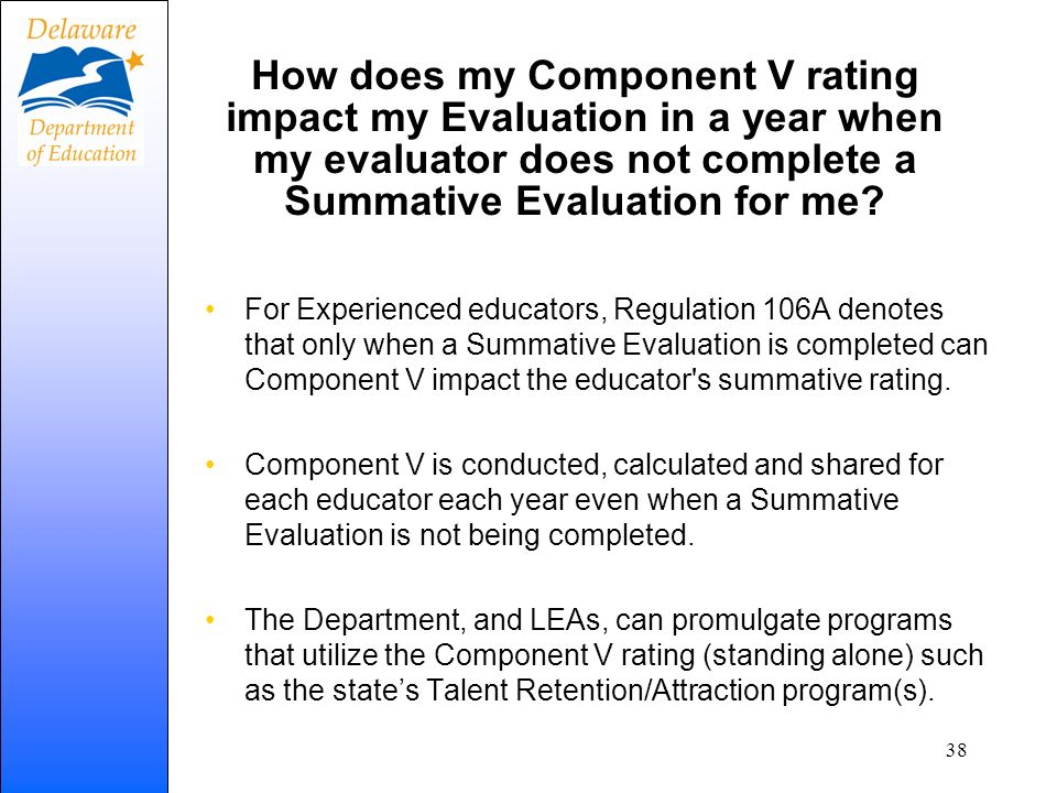 How does my Component V rating impact my Evaluation in a year when my evaluator does not complete a Summative Evaluation for me