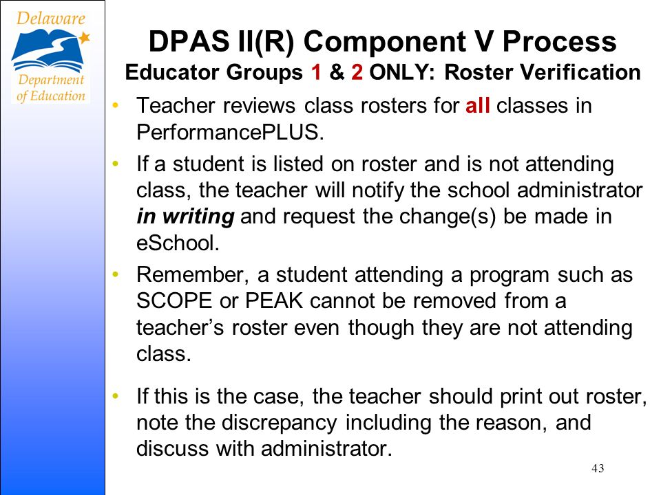 DPAS II(R) Component V Process Educator Groups 1 & 2 ONLY: Roster Verification